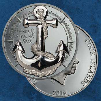 Cook Islands - Anchor – Fair Winds- 10 $ 2019 PP / Proof - Anker