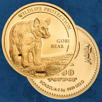 Mongolei - Golden Gobi Bear - 1000 Togrog 2019 PP / Proof - Gold