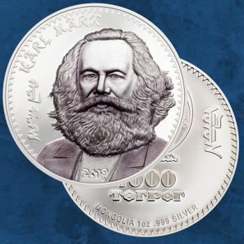 Mongolei - Karl Marx - 1000 Togrog 2019 PP / Proof - Silber