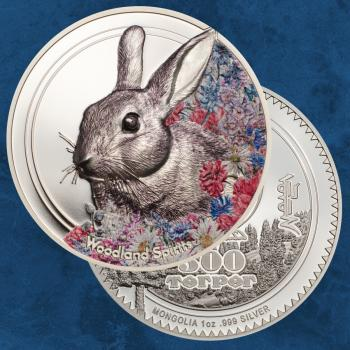 Mongolei - Woodland Spirits Rabbit - 500 Togrog 2019 PP / Proof - Silber