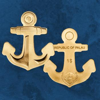 Palau - Golden Anchor - 1 $ 2019 PP / Proof - Gold - Anker