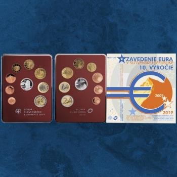 Slowakei - 10 Jahre Euro - KMS 2019 Proof Like - 3,88 Euro -1 Cent - 2 Euro