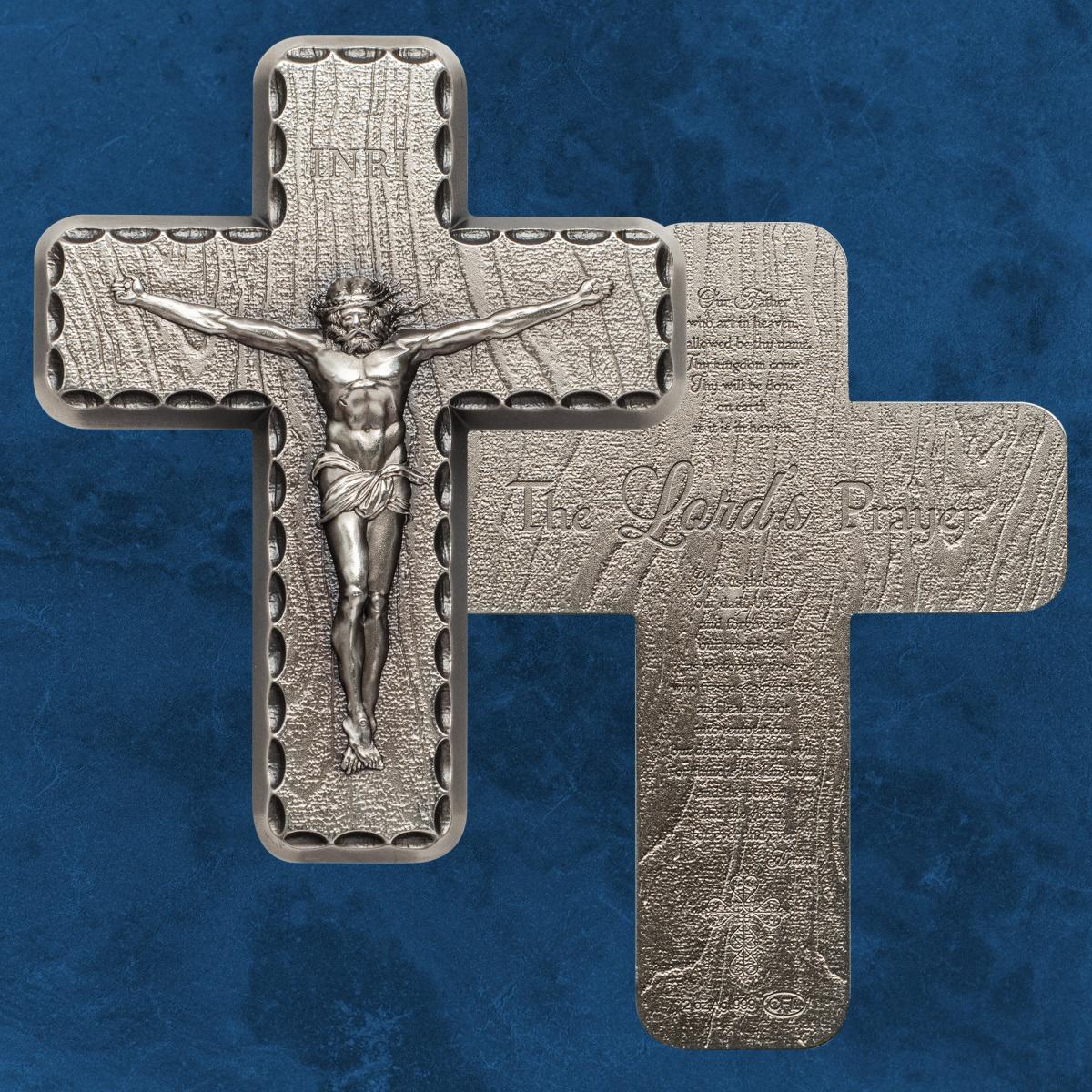Silbernes Kreuz Silber 2 Unzen Antique Finish Crucifix