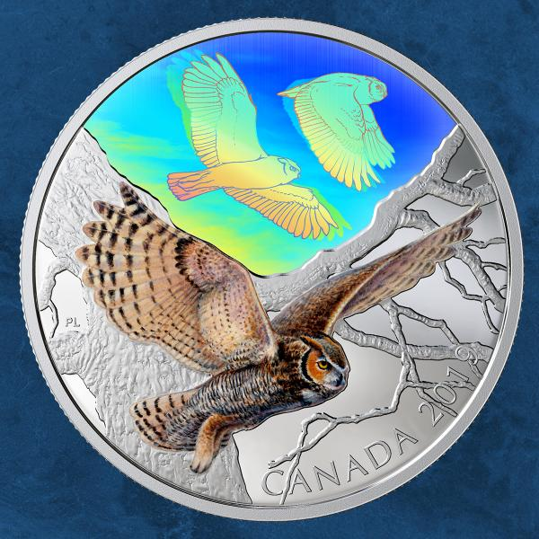 Kanada - Majestic Birds in Motion: Great Horned Owls - 30 $ 2019 PP Silber