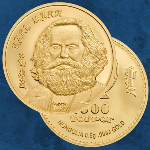 Mongolei - Karl Marx - 1000 Togrog 2019 PP / Proof - Gold