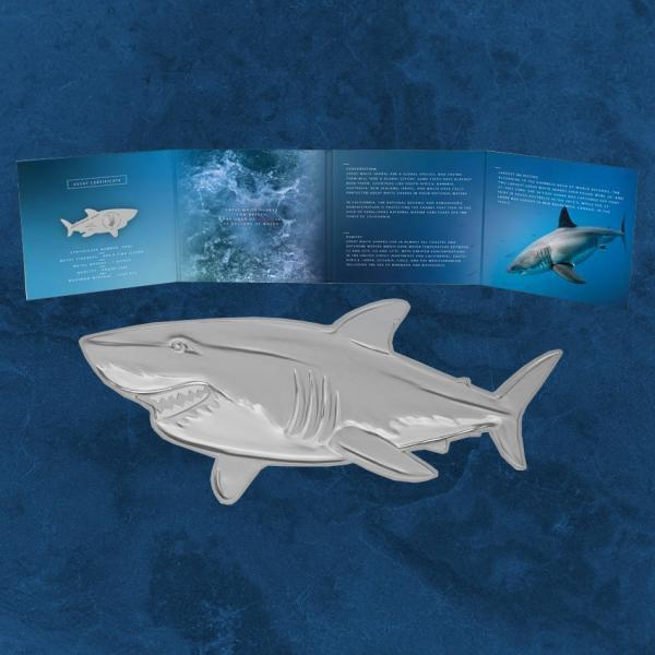 Solomon Island - The 3D Great White Shark - 2$ 2019 BU - Silber - 31,1 Gramm